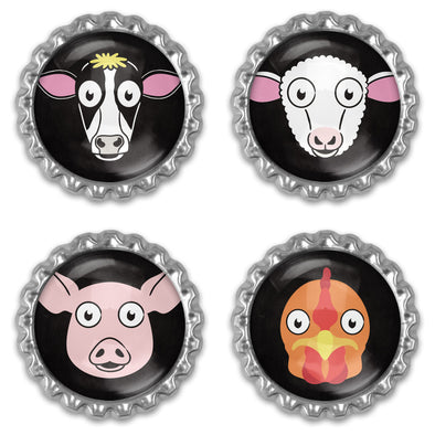 """Don't Have a Cow"" Bottlecap Heavyweight Magnet Sets - Vegan Animal Magnets"