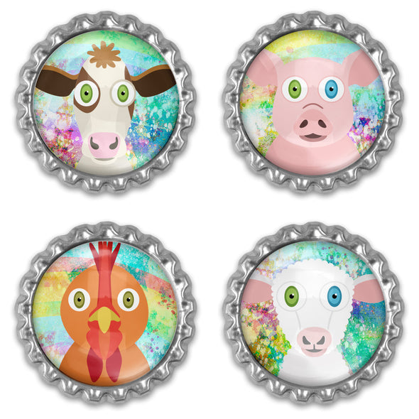 Whimsical Vegan Animal Illustrations - Bottlecap Heavyweight Magnet Sets