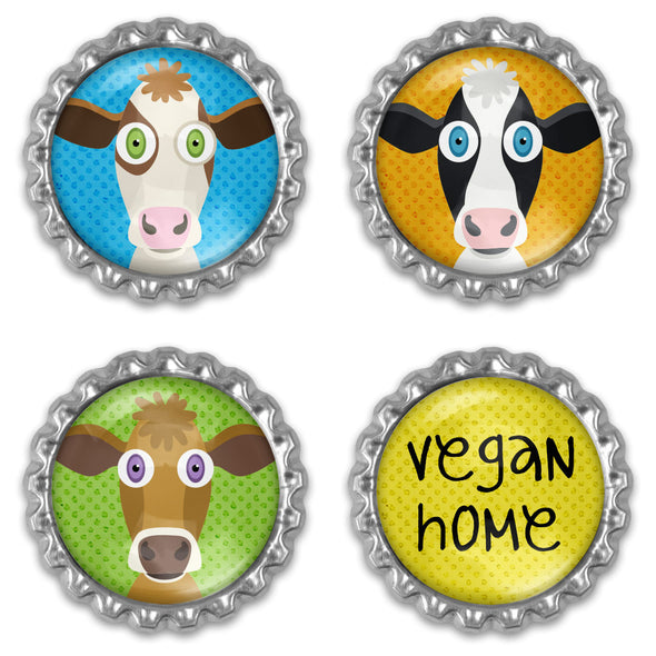 """Vegan Home"" Bottlecap Heavyweight Magnet Sets - Animal Magnets"