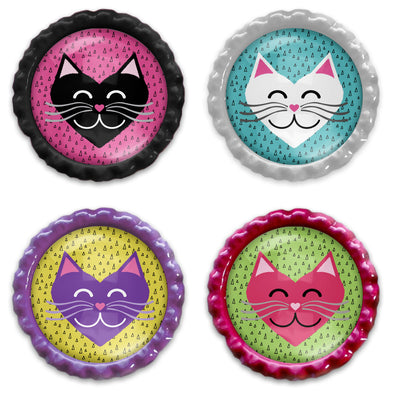 """I Love My Cat"" Bottlecap Heavyweight Magnet Set - Colorful Heart Kitty Cat Magnets"