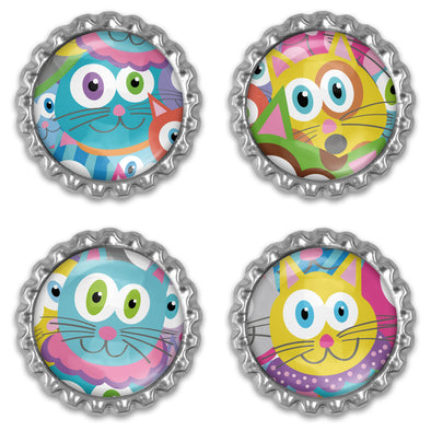 """Purrrballs"" Bottlecap Heavyweight Magnet Set - Colorful Kitty Cat Magnets"