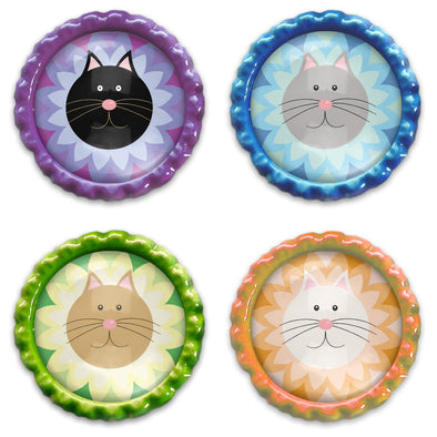 """Purrrfect Flowers"" Bottlecap Heavyweight Magnet Set - Colorful Kitty Cat Magnets"