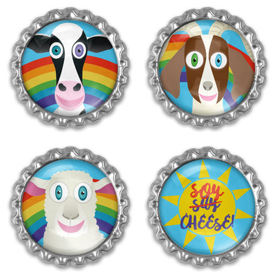 """Soy Cheese"" Bottlecap Heavyweight Magnet Set - Vegan Animal Magnets"