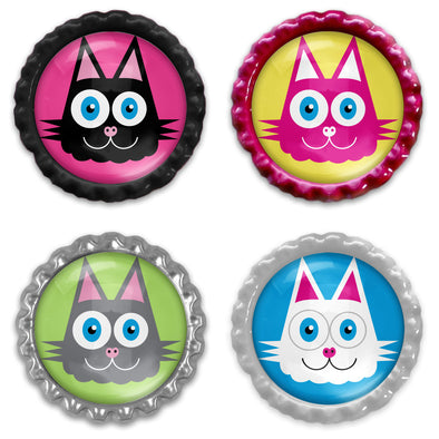 Whimsical Cat Illustrations - Bottlecap Heavyweight Magnet Sets - Funky Kitty Magnets