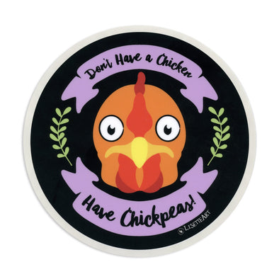 """Don't Have a Chicken, Have Chickpeas!"" Vinyl Vegan Bumper Sticker"