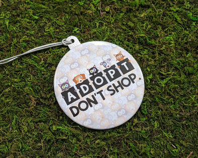 """Adopt, Don't Shop."" Cat & Dog Metal Button Holiday Ornament"