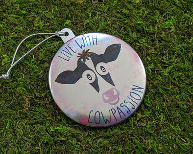 """Live with Cowpassion"" Vegan Metal Button Holiday Ornament"