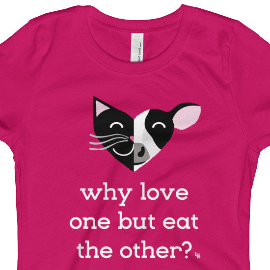 """Why Love One but Eat the Other? - Cat & Cow"" Vegan Girls Fitted T-Shirt"