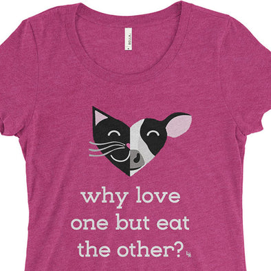 """Why Love One but Eat the Other? - Cat & Cow"" Junior Fitted Vegan T-Shirt"