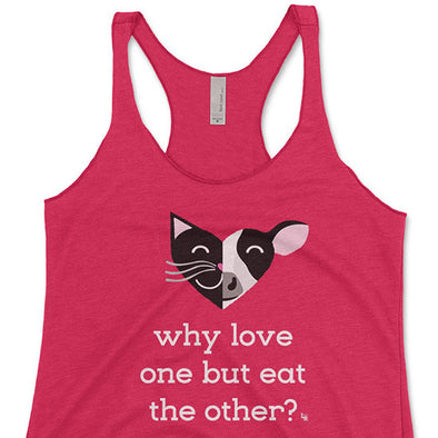 """Why Love One but Eat the Other? - Cat & Cow"" Triblend Racerback Vegan Tank"