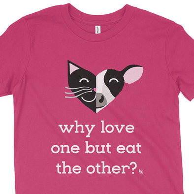 """Why Love One but Eat the Other? - Cat & Cow"" Vegan Kids Youth T-Shirt"
