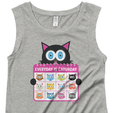 """Everyday is Caturday"" Women's Cap Sleeve Cat Shirt"