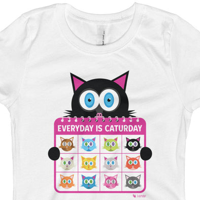 """Everyday is Caturday"" Girls Fitted Cat T-Shirt"