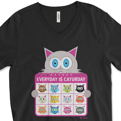 """Everyday is Caturday"" Unisex V-Neck Cat T-Shirt"