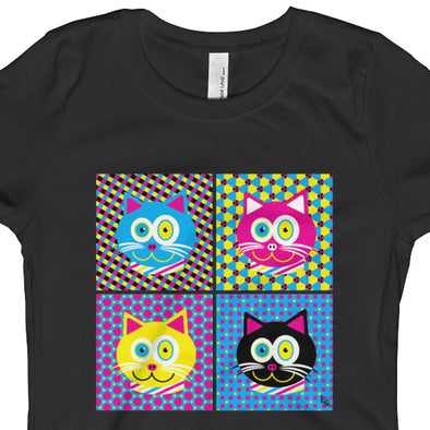 """CMYKat - 2x2"" Girls Fitted Cat T-Shirt"
