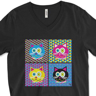"""CMYKat - 2x2"" Unisex V-Neck Cat T-Shirt"