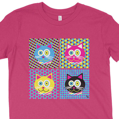"""CMYKat - 2x2"" Kids Youth Cat T-Shirt"