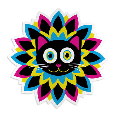 """CMYKitty"" Purrrfect Flower Cat Die Cut Vinyl Sticker"