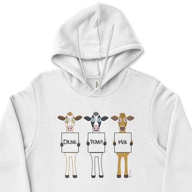 """Drink Plant Milk"" Unisex Lightweight Fleece Vegan Cows Hoodie Sweatshirt"