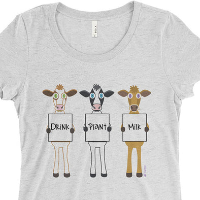 """Drink Plant Milk"" Cows Junior Fitted Vegan T-Shirt"