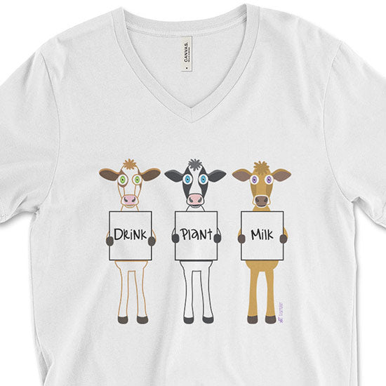 """Drink Plant Milk"" Unisex V-Neck Vegan Cows T-Shirt"