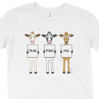 """Drink Plant Milk"" Vegan Kids Youth Cows T-Shirt"