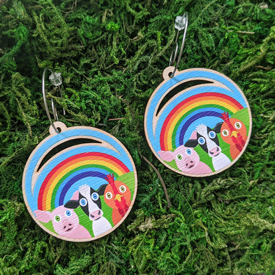 """Rainbow Friends"" Trio - Printed Wood Charm Vegan Animals Hoop Earrings"