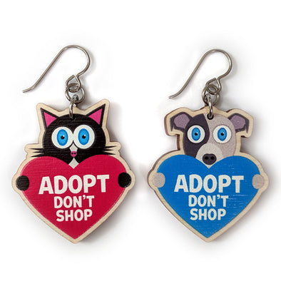 """Adopt, Don't Shop."" (cat and dog with hearts) Printed Wood Charm Mismatch Earrings"