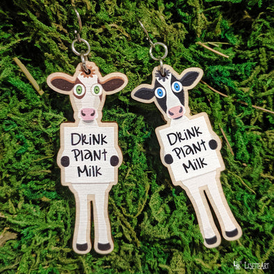 """Drink Plant Milk"" Vegan Cow Printed Wood Charm Earrings"