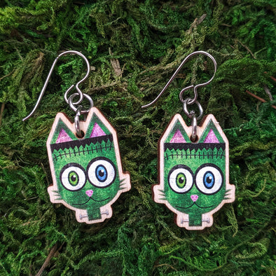 """Frankenkitty"" Frankenstein Monster Cat Printed Wood Charm Earrings"