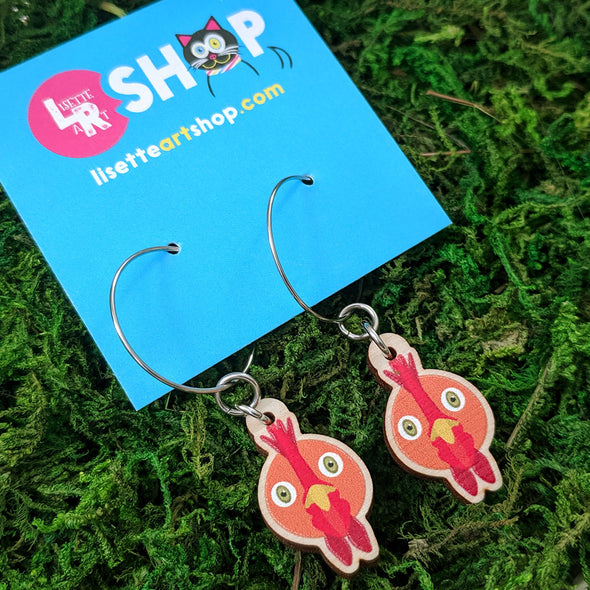 Cute Chicken Friend - Printed Wood Charm Vegan Hoop Earrings