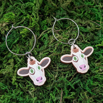 Cute Cow Friend - Printed Wood Charm Vegan Hoop Earrings