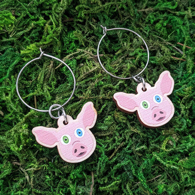 Cute Pig Friend - Printed Wood Charm Vegan Hoop Earrings