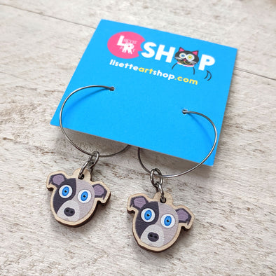 Cute Dog - Printed Wood Charm Hoop Earrings