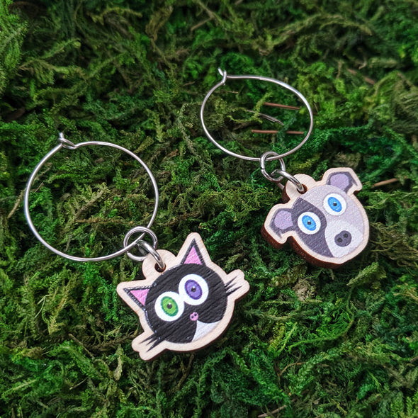 Cute Cats and Dogs - Printed Wood Charm Hoop Earrings