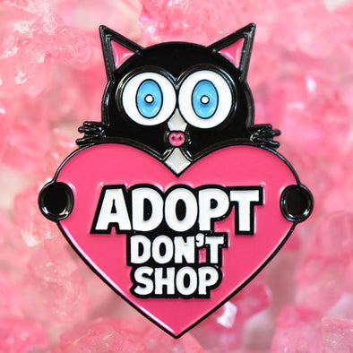 """Adopt, Don't Shop"" (cat with heart) Enamel Pin"