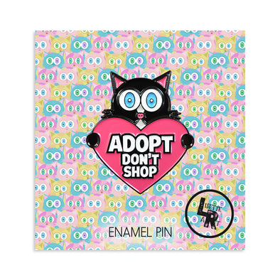 """Adopt Don't Shop"" (cat heart) Enamel Pin"
