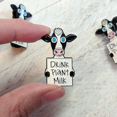"""Drink Plant Milk"" Vegan Cow Enamel Pin"