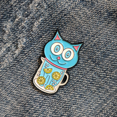 """Feeling Refreshed"" Silly Blue Cat Enamel Pin"