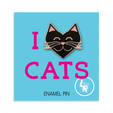 """I Love Cats"" Black Heart Cat Enamel Pin"