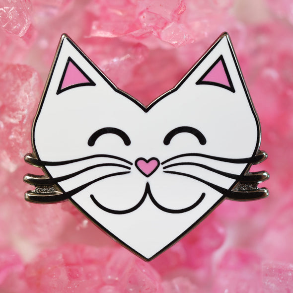 """I Love Cats"" White Heart Cat Enamel Pin"