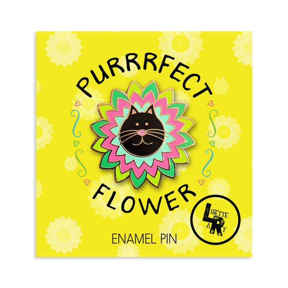 """Purrrfect Flower"" Cat Enamel Pin"