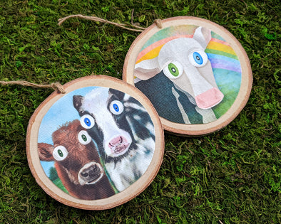 Vegan Wood Animal Ornaments - Whimsical Cows, Holiday Animal Ornaments