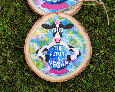 """The Future is Vegan""  Whimsical Cow with Crystal Ball Wood Ornaments, Holiday Ornaments"