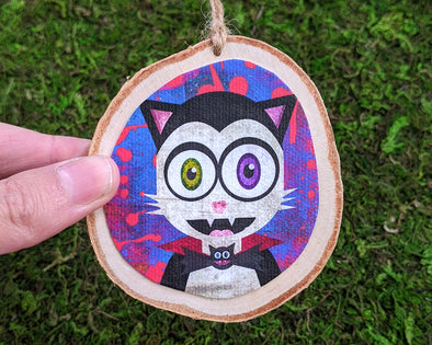 """Vampurrrkitty"" Vampire Cat Wood Ornament - Monster Kitty Holiday Ornaments"