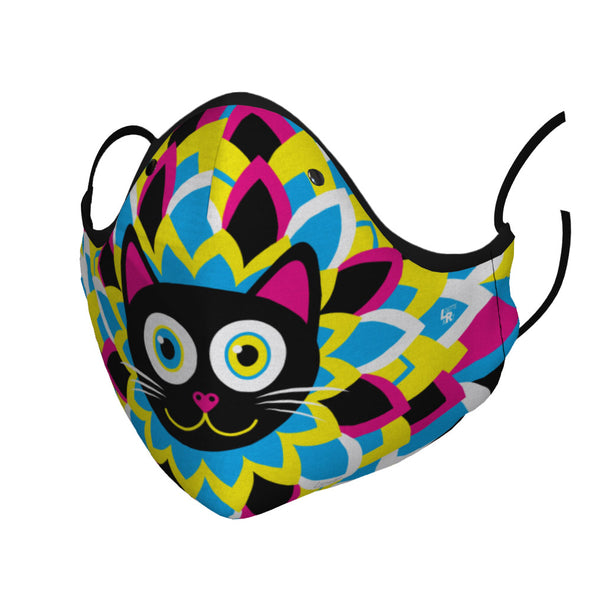 """CMYKitty"" Purrrfect Flower Black Cat Premium Face Mask"