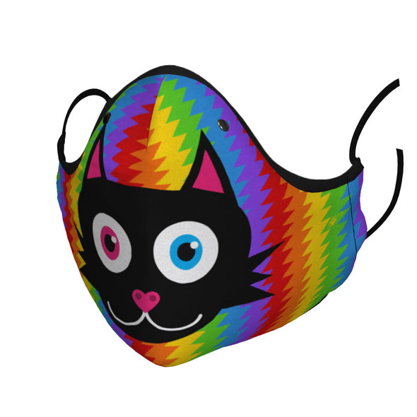 Electric Rainbow - Black Cat Premium Face Mask - Ready to Ship!
