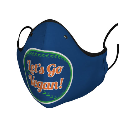 """Let's Go Vegan!"" Baseball Themed Premium Face Mask"