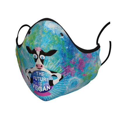 """The Future is Vegan"" Cow with Crystal Ball Premium Face Mask"