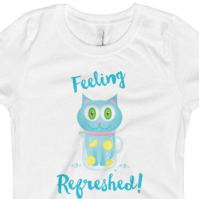 """Feeling Refreshed"" Girls Fitted Cat T-Shirt"